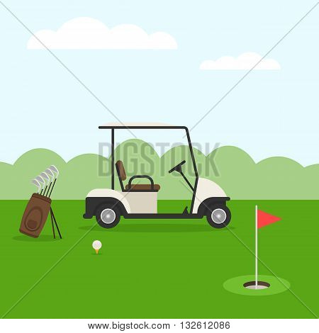 Golf course. Golf landscape in flat style. Vector illustration