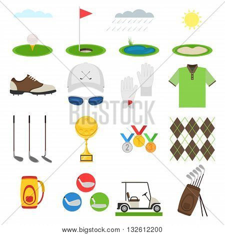 Golf icon set.  Sports uniform, equipments with elements for mobile concepts.  Vector illustration collection infographic  pictogram isolated on white background for your web site design and app