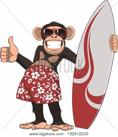 Vector illustration of funny chimpanzee surfer on a white background