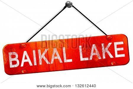 Baikal lake, 3D rendering, a red hanging sign
