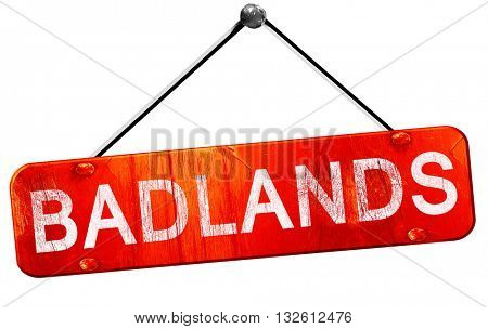 Badlands, 3D rendering, a red hanging sign