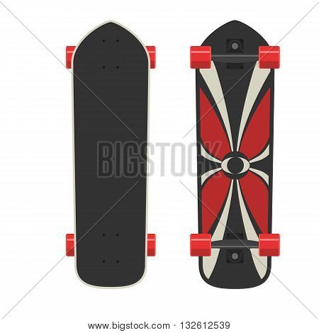 Longboard red two sides. Active sport lifestyle. Vector Illustration isolated on white background. Flat colorful sign for web site design or print
