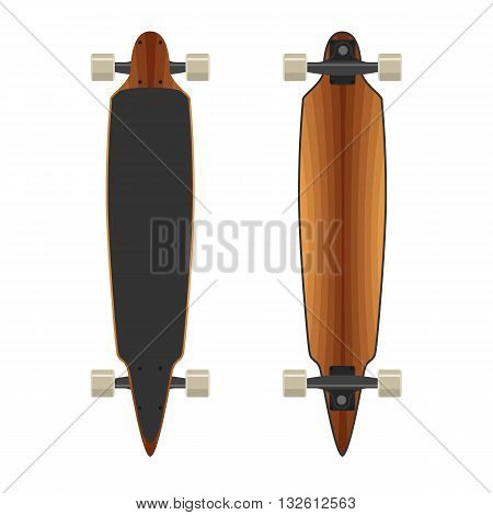 Longboard wooden two sides. Active sport lifestyle. Vector Illustration isolated on white background. Flat colorful sign for web site design or print