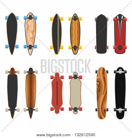 Longboards set two sides. Active sport lifestyle. Vector Illustration icons isolated on white background. Flat colorful sign for web site design or print