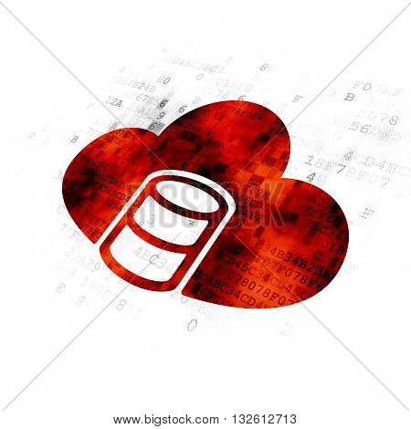 Database concept: Pixelated red Database With Cloud icon on Digital background