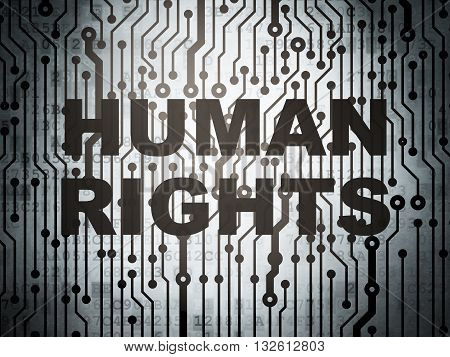 Politics concept: circuit board with  word Human Rights, 3D rendering