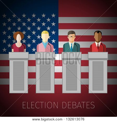 Concept of election debates or press conference. US Presidential election 2016. Flat design, vector illustration.