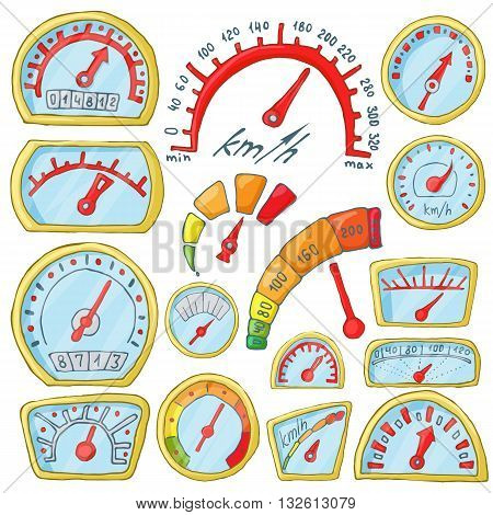 Speedometer Icons set in cartoon style isolated on white background