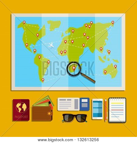 Concept of planning vacation. Preparation for travel, cell phone, money, passport, map on yellow background. Flat design, vector illustration.