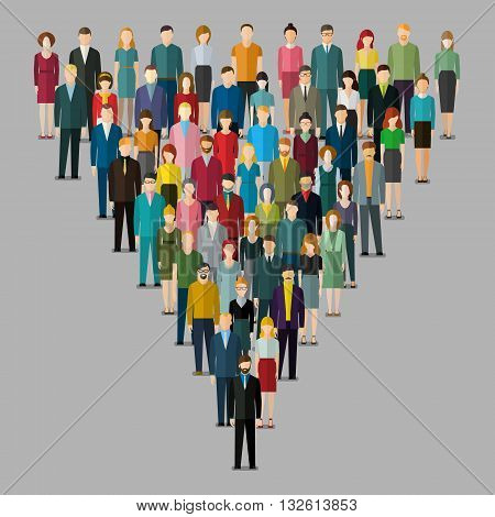 leadership concept. People follow the leader. Vector illustration of a leader and a team. Flat design.