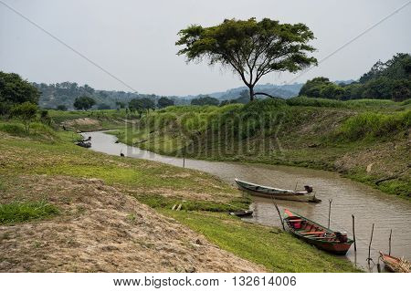 Wooden Boats On River Water