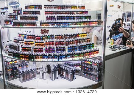 Moscow Russia - May 27 2016: The 8th Moscow International Tattoo Convention. products and accessories for tattoo parlors in the exhibition.