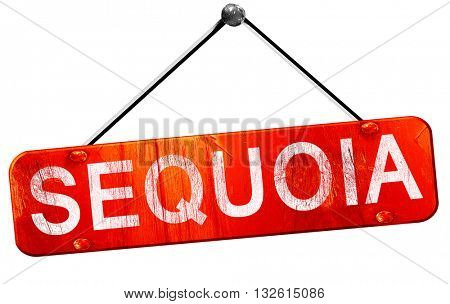 Sequoia, 3D rendering, a red hanging sign