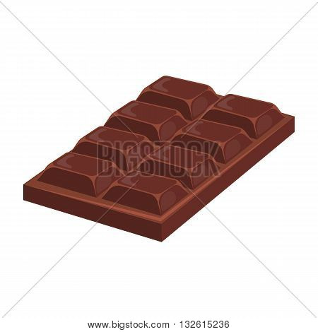 Chocolate bar colorful icon. Vector illustration of black milk chocolate bar