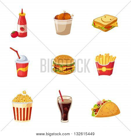 Junk Food Items Set Of Realistic Design Vector Stickers Isolated On White Background