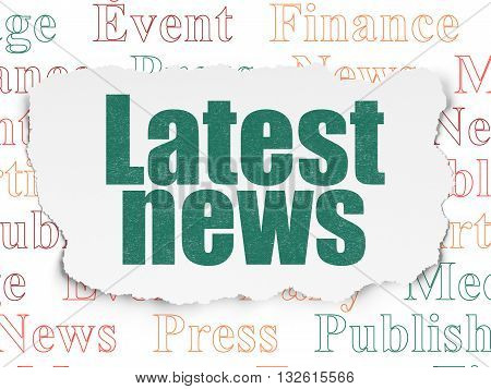 News concept: Painted green text Latest News on Torn Paper background with  Tag Cloud