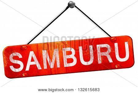 Samburu, 3D rendering, a red hanging sign