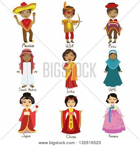 Kids In National Costumes Set Of Cute Bright Color Childish Design Vector Illustrations Isolated On White Background