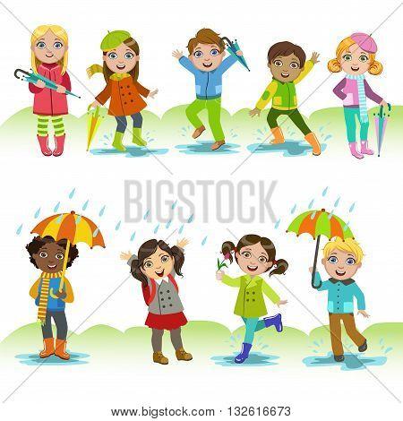 Children Enjoying The Rain Childish Cartoon Style Cute Vector Illustration On White Background
