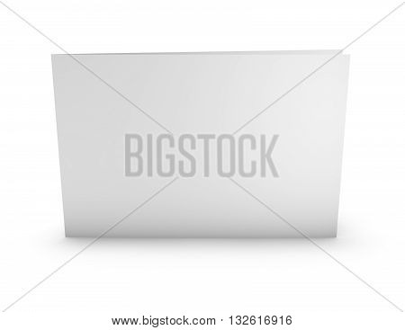 Blank Greeting Card Horizontal Orientation Mock Up, Standing On Floor With Soft Shadows.