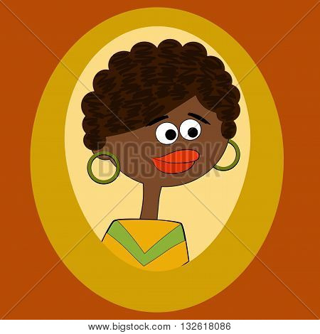 Vector illustrated beauty Afro american woman in frame.