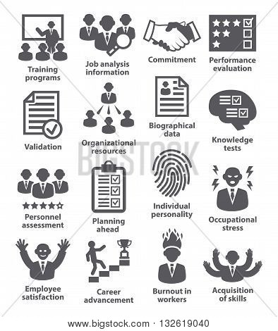 Business management icons on white. Pack 23.