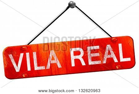 Vila real, 3D rendering, a red hanging sign