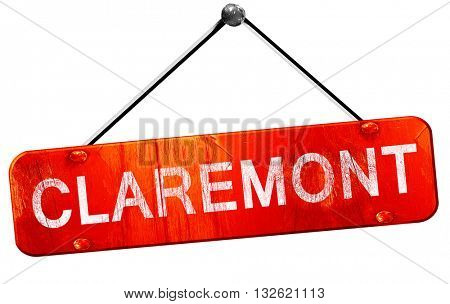 claremont, 3D rendering, a red hanging sign