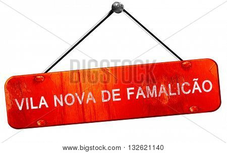 Vila nova de famalicao, 3D rendering, a red hanging sign
