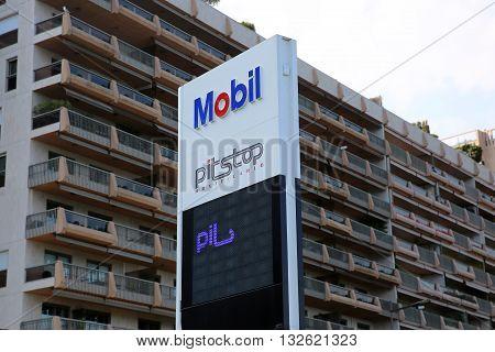 Monte-Carlo Monaco - May 17 2016: Mobil Gas Station Sign in Monaco. Mobil is a Major American Oil Company