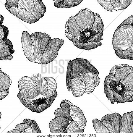 Vector Graphic Hand-drawn Ink Seamless Pattern Of Tulip