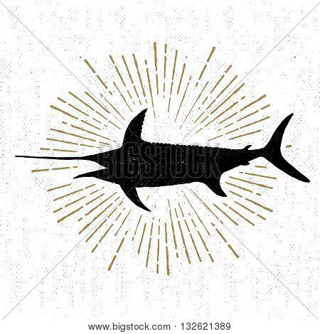 Hand drawn textured icon with swordfish vector illustration.