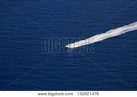 Luxury Boat Wake on Mediterranean Sea between Cap d'Ail and Monaco
