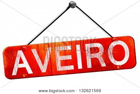 Aveiro, 3D rendering, a red hanging sign