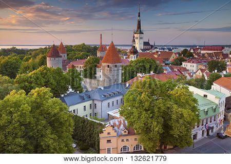 Tallinn. Image of Old Town Tallinn in Estonia during sunset.
