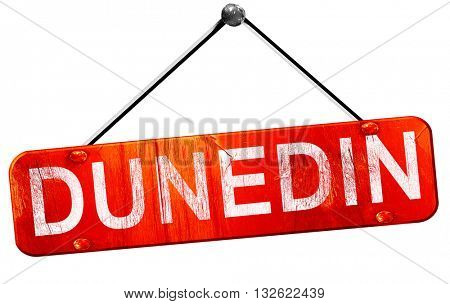 dunedin, 3D rendering, a red hanging sign