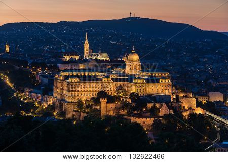 Buda Castle overlooking the Danube River in Budapest