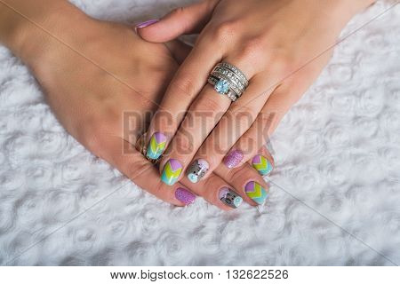 Summer Nail Art With Chevron Design With Teddy Bear Picture