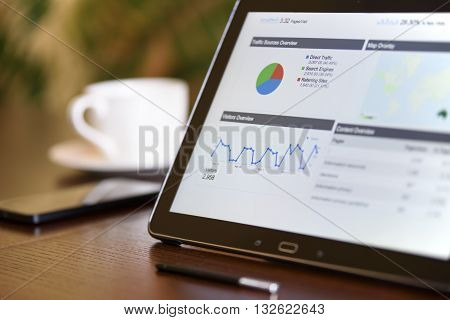 Charts and analytical data on the tablet screen with a cup of coffee and a telephone in the background