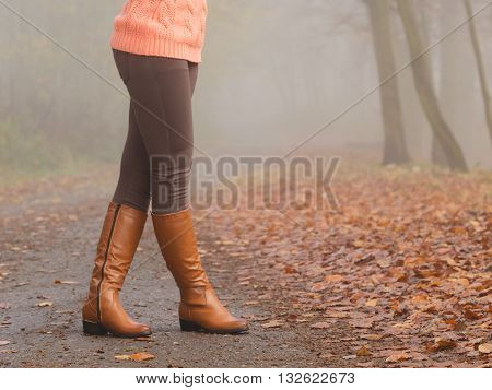 Woman Legs In Brown Boots. Fall Fashion