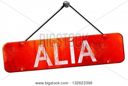 Alia, 3D rendering, a red hanging sign