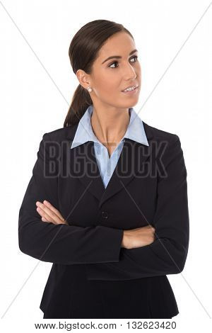 Attractive isolated smiling businesswoman in blue suit looking sideways to text.