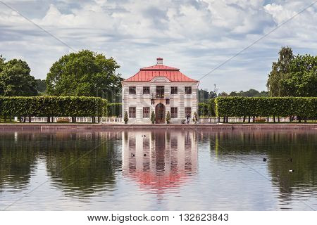 SAINT PETERSBURG, RUSSIA -JUNE 02, 2016: Marly House in the Lower Gardens of Peterhof (near St. Petersburg). It was built in 1720-1723 by the architect Johann Braunstein