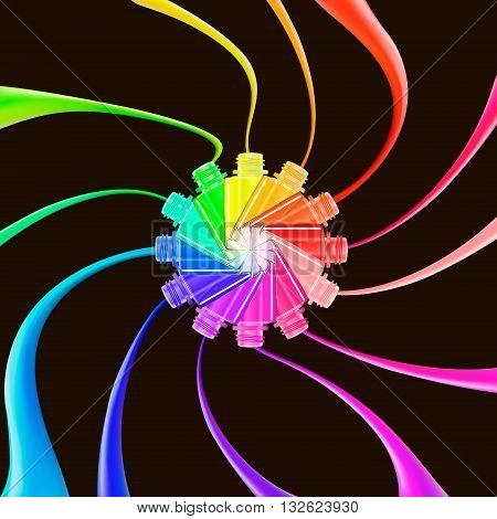 Nail polish splashes isolated on black background. Nail art. Rainbow colors. Beauty salon. Glamour fashion concept. 3D illustration. Vector