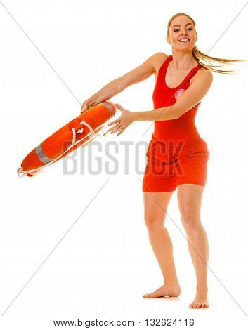 Lifeguard with ring buoy lifebuoy. Woman supervising swimming pool water. Accident prevention.