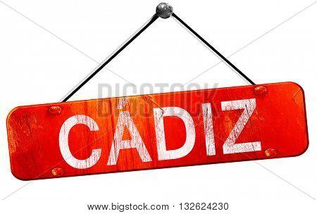 Cadiz, 3D rendering, a red hanging sign