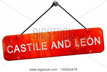 Castile and leon, 3D rendering, a red hanging sign