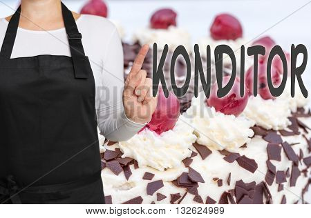 Konditor (in german Confectioner) with cake background concept template.
