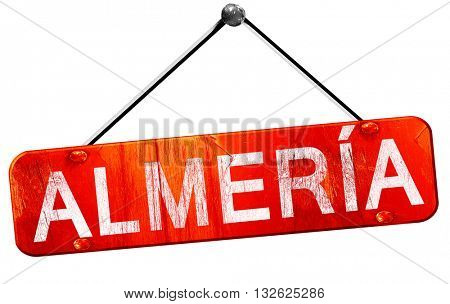 Almeria, 3D rendering, a red hanging sign