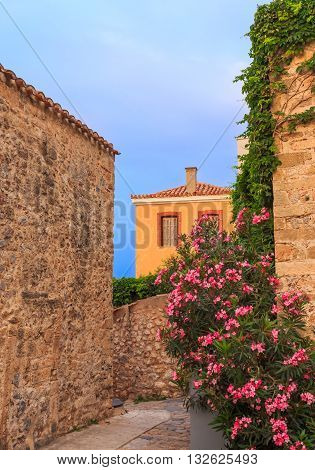 early morning in medieval town of Monemvasia, Greece